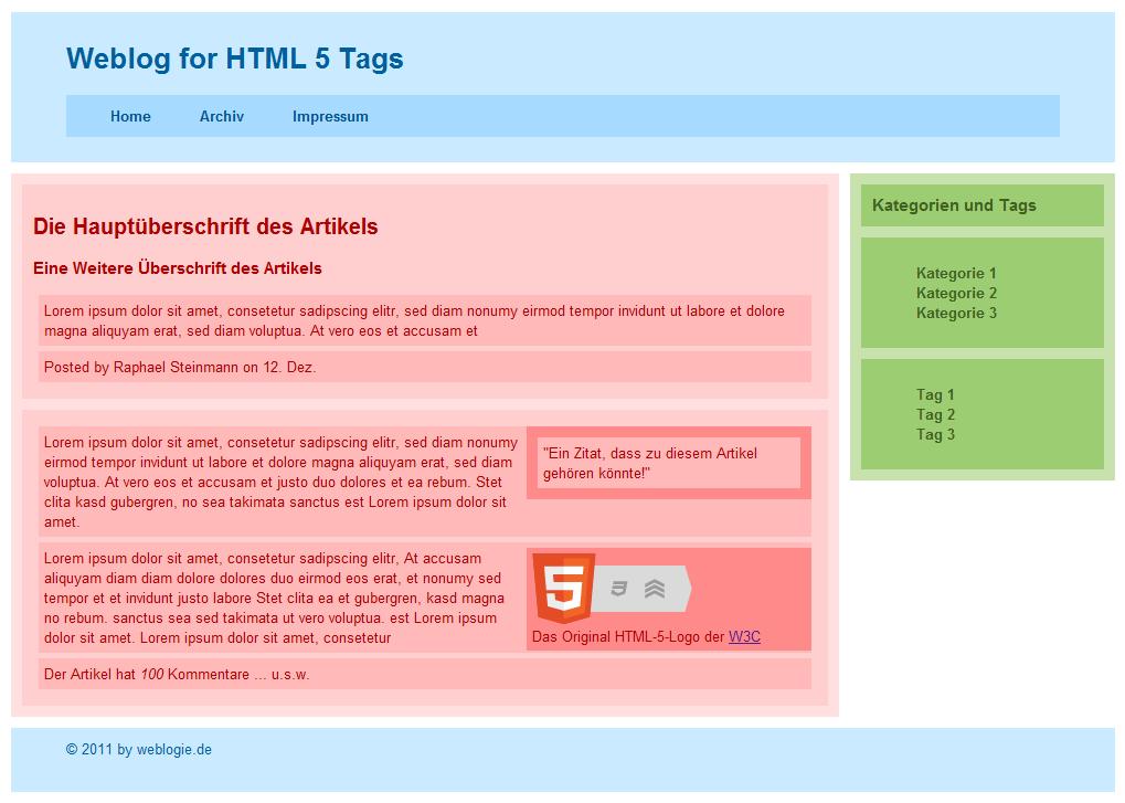 Screenshot - HTML5 Tags im Einsatz (gängige Browser)