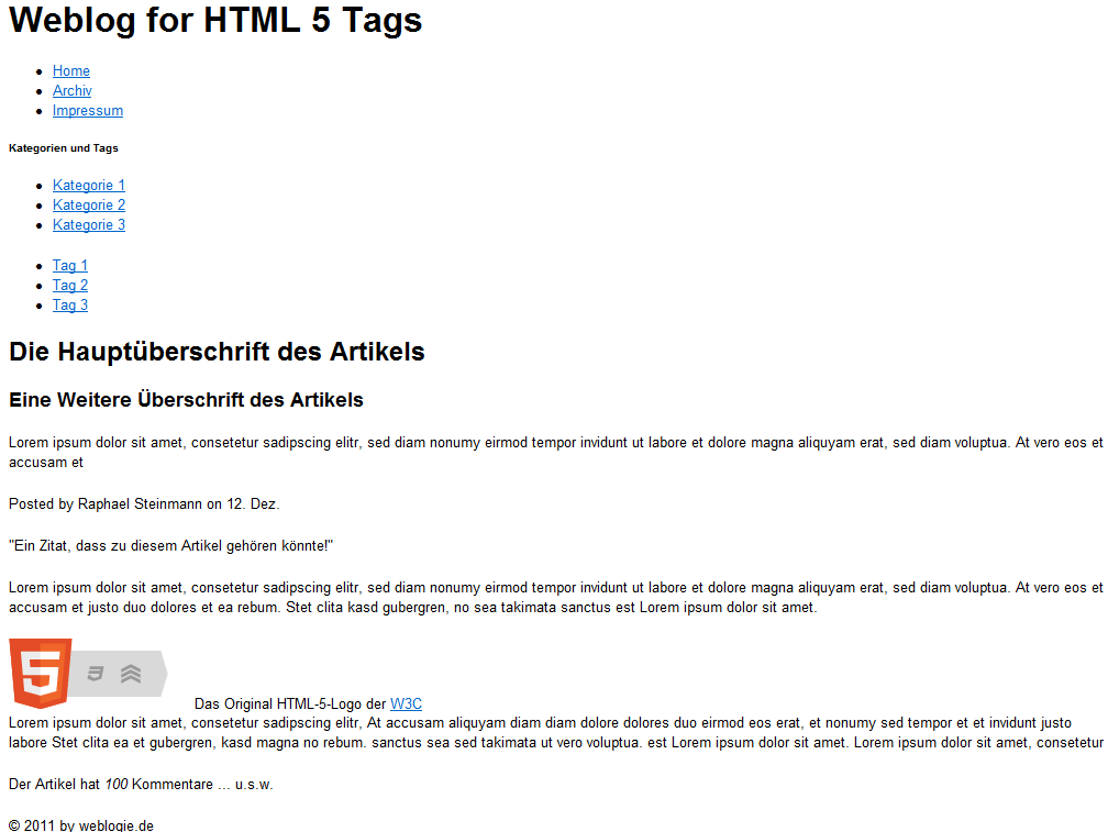 Screenshot - HTML5 Tags im Einsatz (Internet Explorer8)